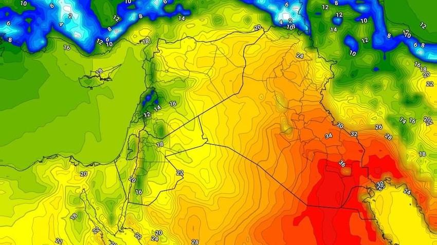 العراق | ارتفاع ملموس على الحرارة الأربعاء تزامناً مع احوال جوية غير مُستقرة ببعض المناطق