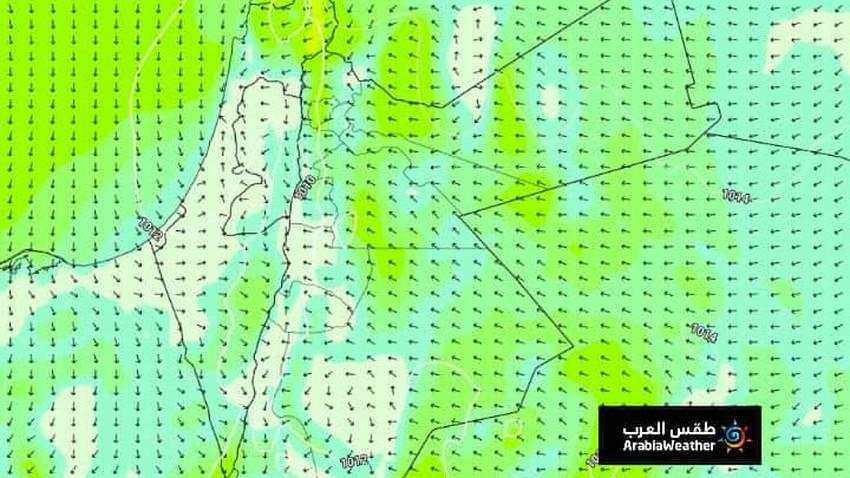 السبت_طقس ادفأ من المعتاد وأستمرار نشاط الرياح الجنوبية الشرقية وفرصة لزخات مطر في جنوب شرق المملكة
