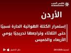 الأردن | إستمرار الكتلة الهوائية الحارة نسبيًا الثلاثاء وتراجعها تدريجيًا الأربعاء والخميس