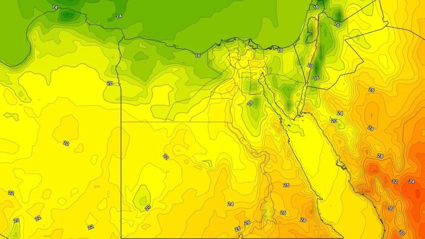 مصر | انخفاض على درجات الحرارة الأربعاء وزخات امطار في اجزاء من المناطق الشمالية