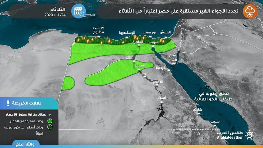 أمطار رعدية غزيرة مع فرص ارتفاع منسوب المياه وتشكل السيول على السواحل الشمالية خاصة الإسكندرية ورشيد