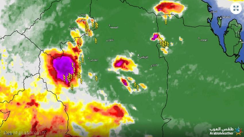 تحديث 6:55م | سُحب رعدية تتقدم نحو القصيم وأمطار متوقعة بعد قليل قد تترافق بزخات من البرد