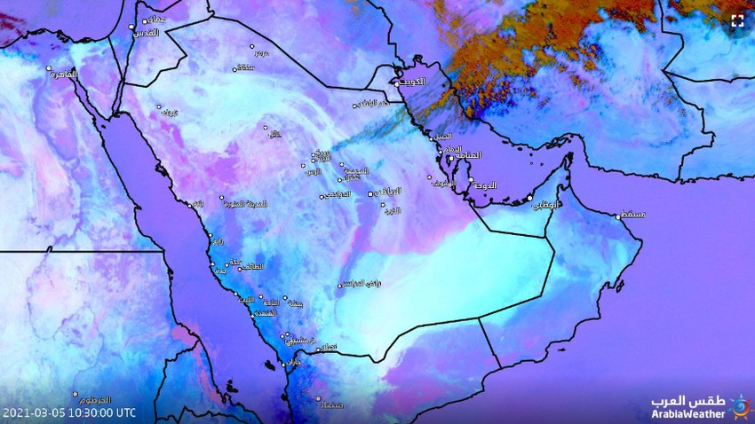 Saudi Arabia | The satellites monitor the dust wave and the horizontal vision drops to 100 meters in Al-Ahsa!