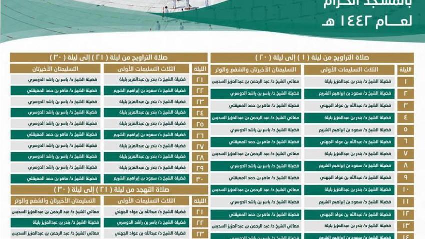 السعودية | صدور جدول أئمة صلاتي التراويح و التهجد بالمسجد الحرام لرمضان هذا العام
