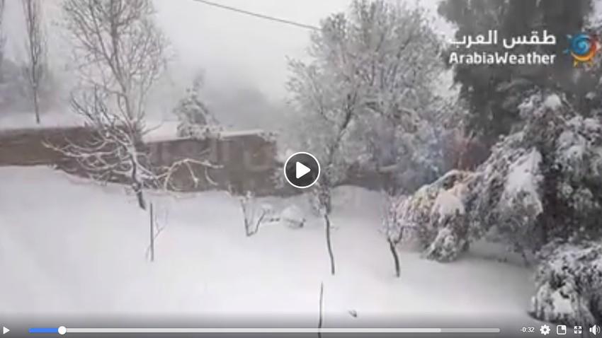 تراكمات الثلوج تناهز 25سم في أعالي مرتفعاتعجلون