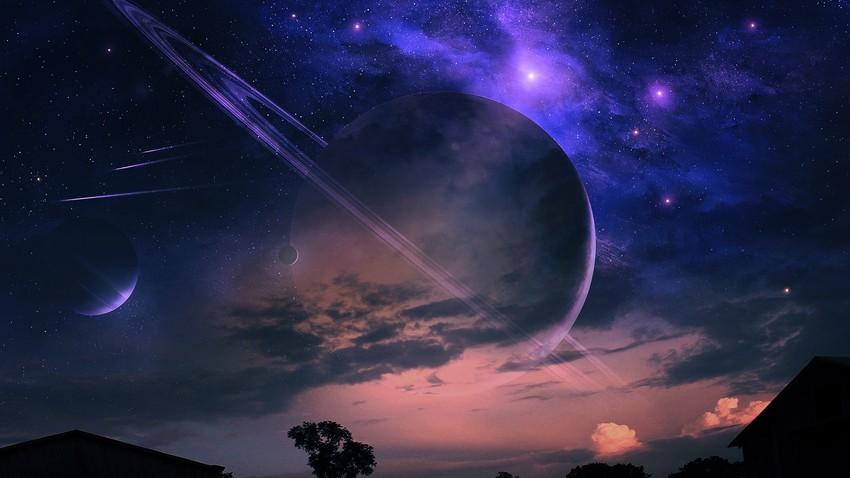 صورة تعبيرية مركبة للسماء والكواكب
