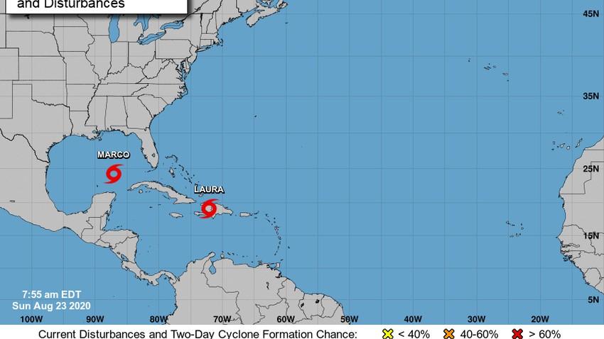 """العاصفتان الاستوائيتان """"لورا وماركو"""" في خليج المكسيك تقتربان من سواحل الولايات المتحدة"""
