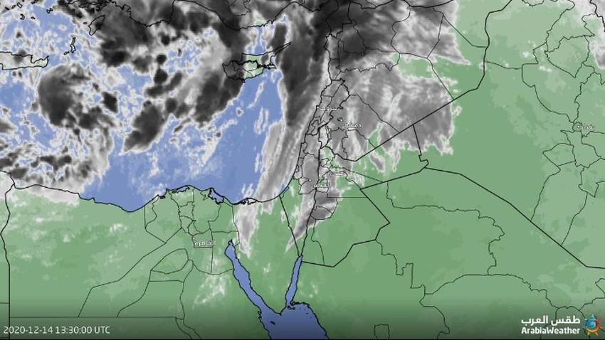 تحديث 4:00 عصراً   أمطار رعدية بعد قليل في عدد من المناطق إثر بدء عبور تدريجي للجبهة الهوائية الباردة