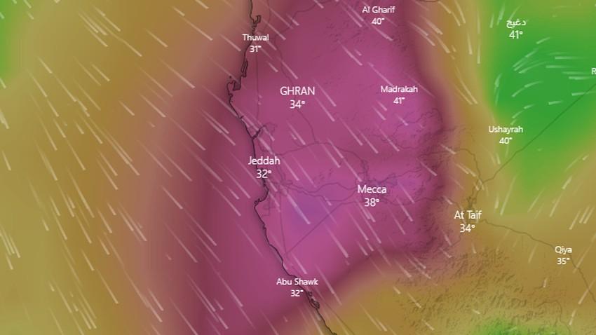 Arabie Saoudite   Avertissement de vents forts qui soulèvent de la poussière et de la poussière à La Mecque et à Djeddah samedi