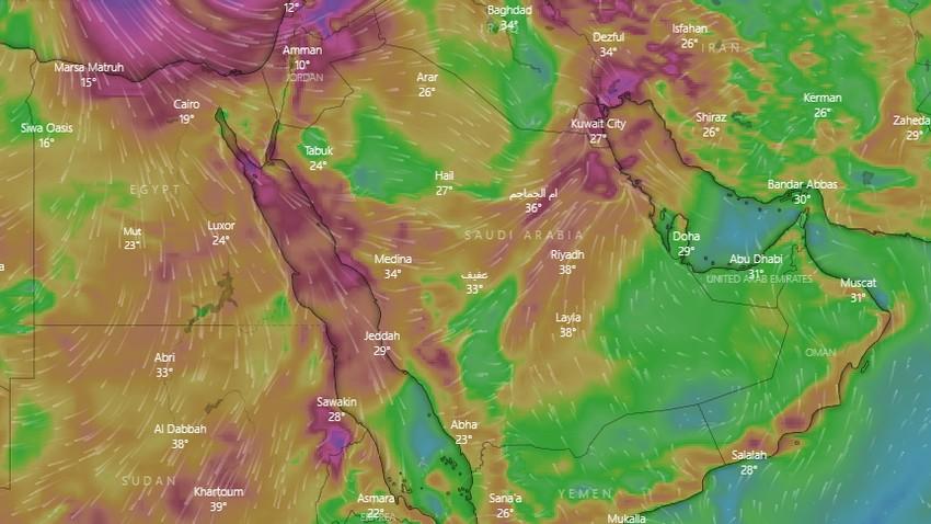 السعودية | كتلة هوائية أقل حرارة تدفع برياح نشطة مثيرة للأتربة  والغبار يوم السبت