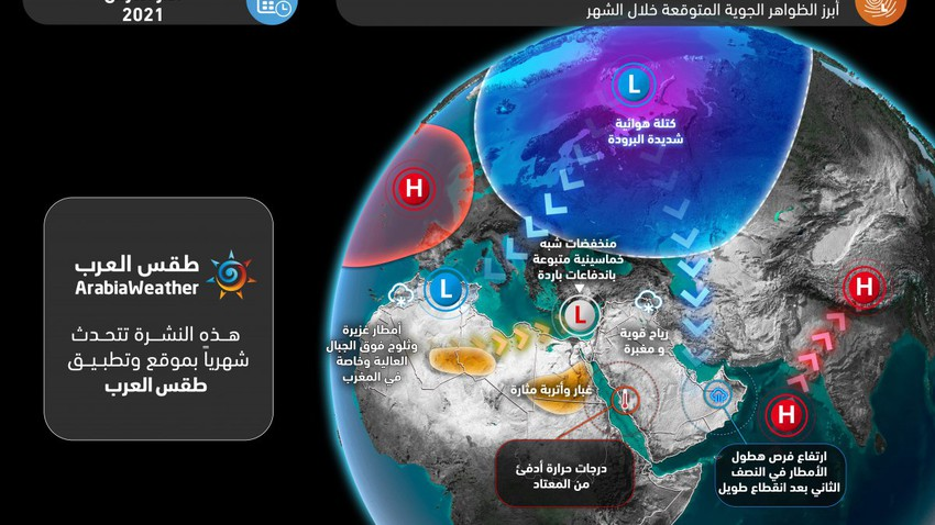 Monthly Bulletin | A cold start in some areas ... and the chances of rain improved in the second half of March, especially in the mawaweeh season